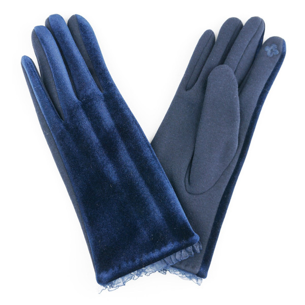 Velvet lace trim smart touch gloves.  - One size fits most - 70% Polyester, 30% Cotton