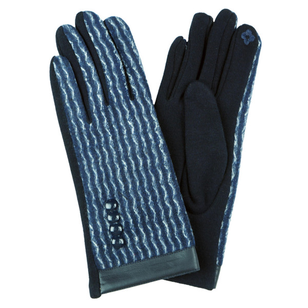 PU trim wavy pattern smart touch gloves.   - One size fits most - 100% Acrylic