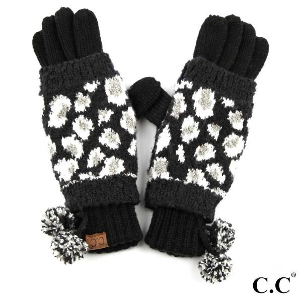 Wholesale c C CG Leopard jacquard knit glove knit pom Polyester One fits most