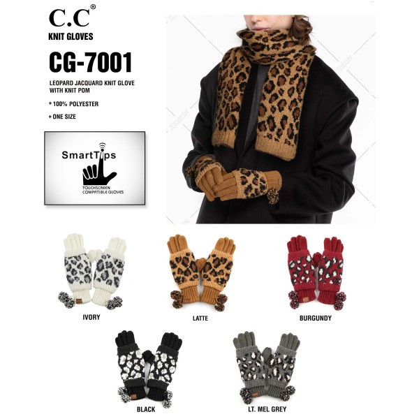 C.C CG-7001 Leopard print jacquard knit glove with knit pom  - 100% Polyester - One size fits most - Matches C.C HAT-7001, HW-7001 and SF-7001