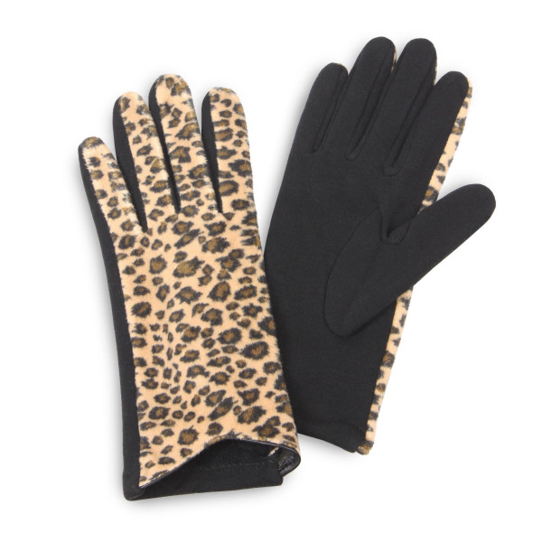 Leopard print gloves.  - One size fits most - 100% Polyester