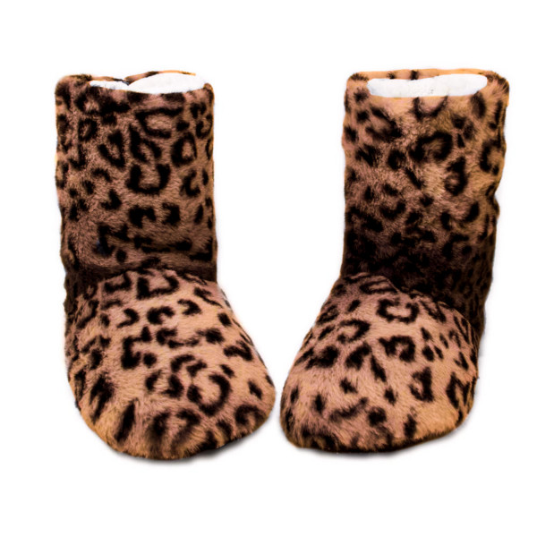 Faux fur indoor leopard print sherpa lined bootie slippers.  - Small (5-6) - 100% Polyester