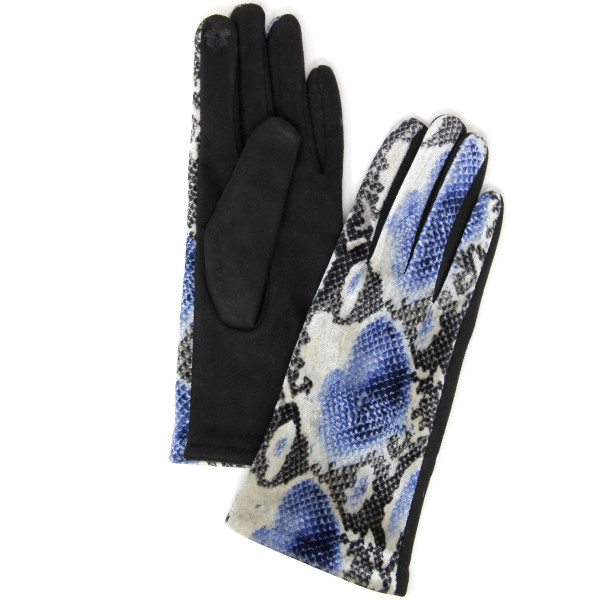 Snakeskin print smart touch gloves.  - One size fits most - 60% Polyester, 40% Cotton