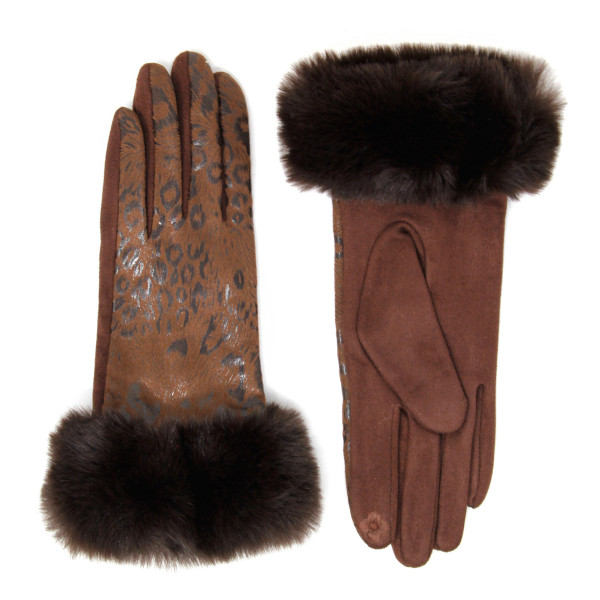 Metallic leopard print faux fur cuff touch screen gloves.  - One size fits most - 60% Polyester, 40% Cotton