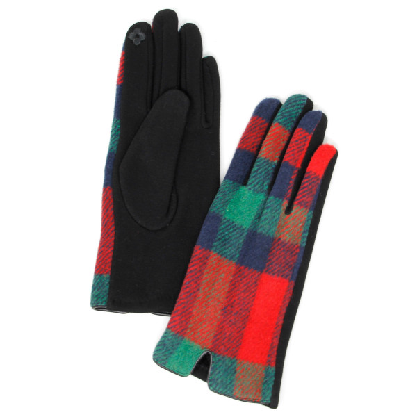 Wholesale plaid print smart touch gloves One fits most Cotton Polyester