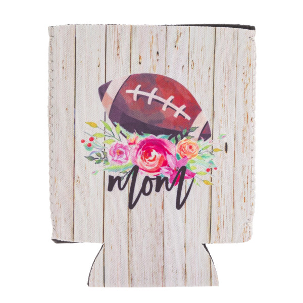 Insulated neoprene rustic floral football mom illustration coozie with side stitch details.  - Fits a standard 12 oz. can