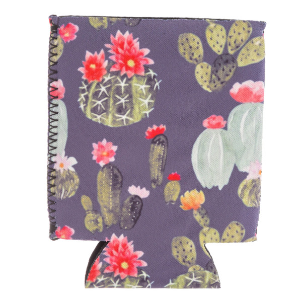 Insulated neoprene floral cactus print coozie with side stitch details.  - Fits a standard 12 oz. can