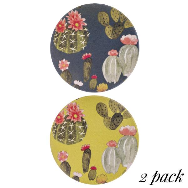 "Cactus print car coaster set. Approximately 2.5"" in diameter.  - Pack Breakdown: 2pcs / pack - Ceramic stoneware - Beveled edge for easy removal"