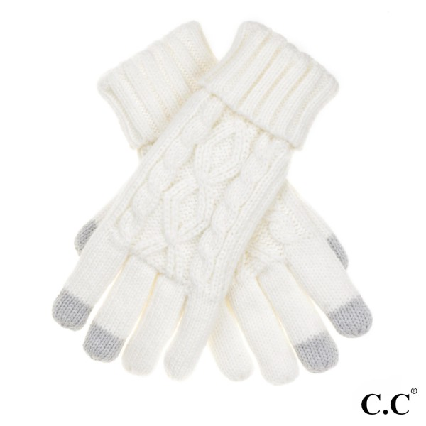 C.C G-707 Cable knit smart touch gloves with fuzzy lining   - 100% Acrylic - One size fits most