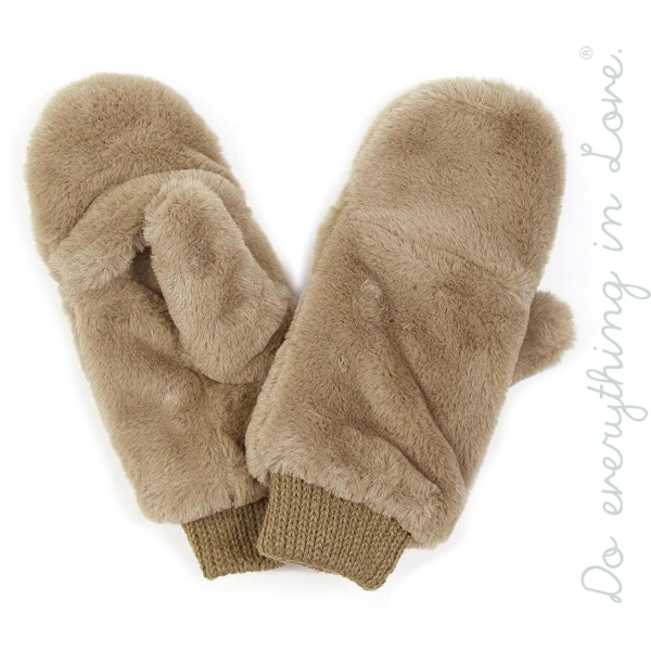 Do everything in Love brand faux fur pop top mittens.  - One size fits most  - 100% Polyester