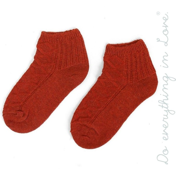Do everything in Love brand solid color knit ankle socks.  - One size fits most women's 6-9 - 35% Wool, 65% Acrylic