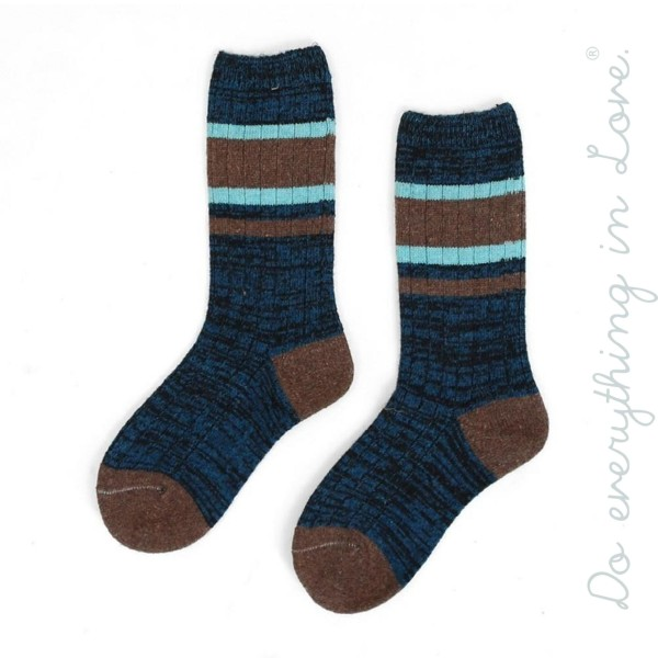 Wholesale do everything Love brand striped marled knit tube socks One fits most