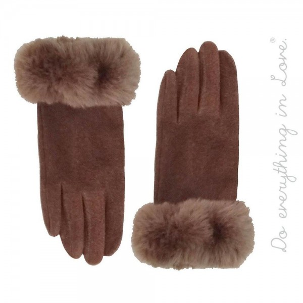 Do everything in Love brand solid color faux fur cuff smart touch gloves.   - One size fits most  - 100% Cotton; Fur 100% Polyester