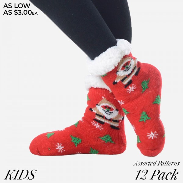 Kids Christmas assorted faux sherpa lined slipper socks.  • Christmas pattern  • Reinforced toe seam  • Silicon rubber dot traction bottom  • Plush faux sherpa lining  • Thick  • Breathable  • Perfect for wearing indoors  • Imported   - Pack Breakdown: 12pcs / pack - Sizes: KIDS 6 S/M / 6 M/L - Composition: 40% Acrylic, 60% Polyester