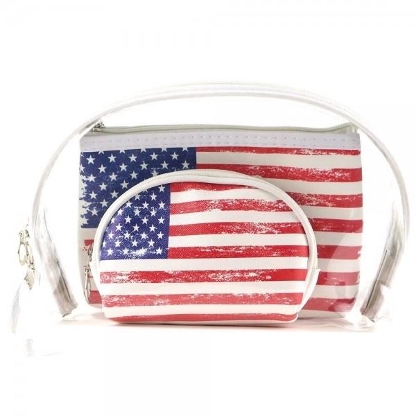 "Vintage distressed American flag clear 3pc travel pouch set.  - 3 pieces  - Detachable wristlet approximately 6"" - Clear bag 8"" W x 7"" T - Middle size bag 7"" W x 5"" T - Smallest bag 5"" W x 4.5"" T - 100% PU"