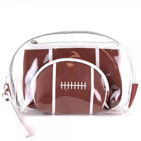 "Football clear 3pc travel pouch set.  - 3 pieces  - Detachable wristlet approximately 6"" - Clear bag 8"" W x 7"" T - Middle size bag 7"" W x 5"" T - Smallest bag 5"" W x 4.5"" T - 100% PU"