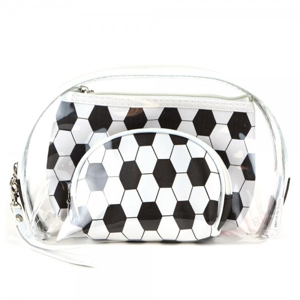 "Soccer clear 3pc travel pouch set.  - 3 pieces  - Detachable wristlet approximately 6"" - Clear bag 8"" W x 7"" T - Middle size bag 7"" W x 5"" T - Smallest bag 5"" W x 4.5"" T - 100% PU"