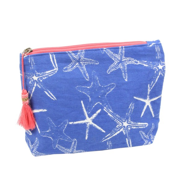 "Starfish travel pouch with tassel accent.  - Open inside  - Zipper closure - Approximately 8"" W x 6"" T - 100% Cotton"