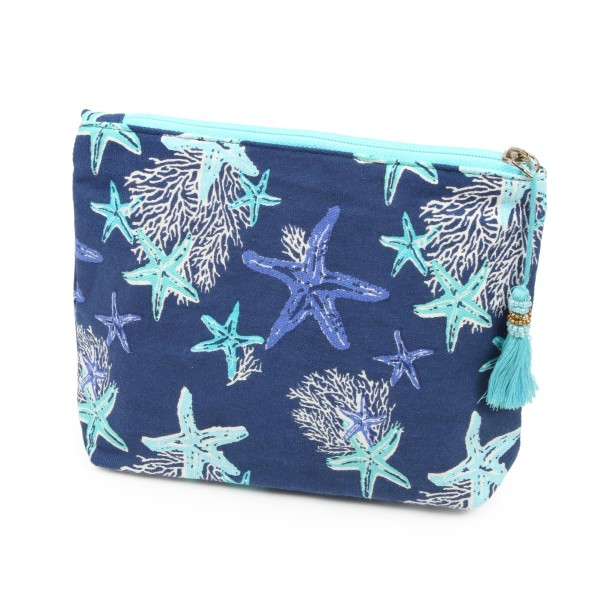 "Starfish coral beach travel pouch with tassel accent.  - Open lined inside - Zipper closure - Approximately 8"" W x 6"" T - 100% Cotton"