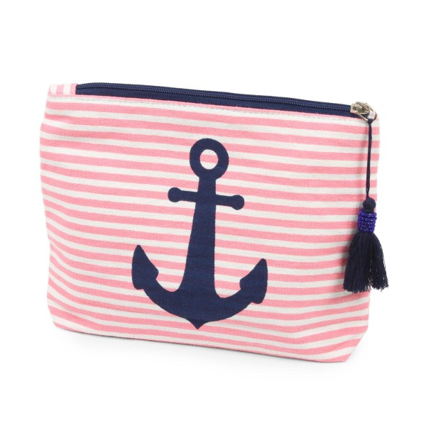 "Striped anchor travel pouch with tassel accent.  - Open inside - Zipper closure - Approximately 8"" W x 6"" T - 100% Cotton"