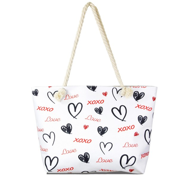 "Love XOXO tote bag with rope handles.  - Open inside pocket - Zipper closure - Rope handles - Approximately 22"" W x 14"" T - Handles 12"" L - 65% Polyester, 35% Cotton"