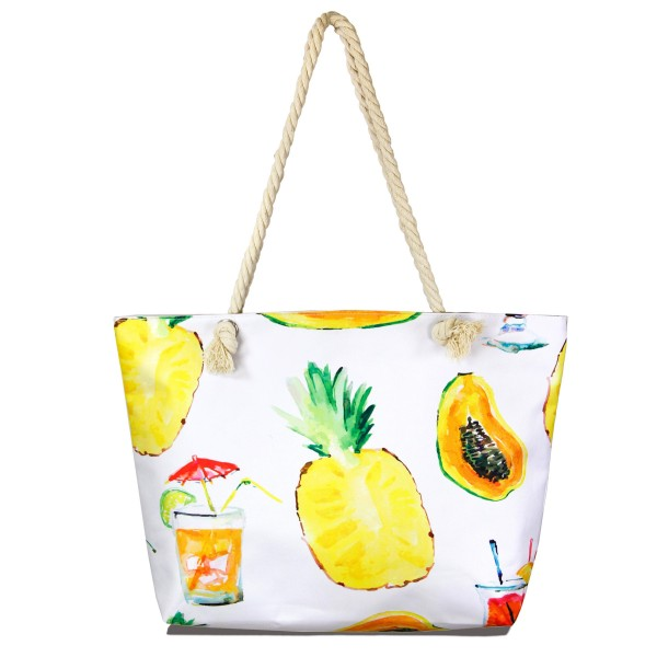 """Summer fruit tote bag with rope handles.  - Open inside pocket  - Zipper closure - Rope handles - Approximately 22"""" W x 14"""" T - Handles 12"""" L - 65% Polyester, 35% Cotton"""