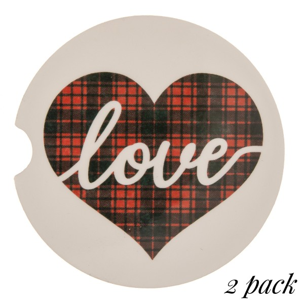 """Plaid heart """"Love"""" printed car coaster set.  - Pack Breakdown: 2pcs / pack - Approximately 2"""" in diameter - Finger slot for easy removal - Condensation absorbing cork"""