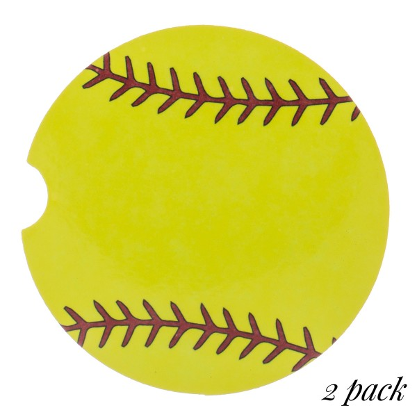 "Softball printed car coaster set.  - Pack Breakdown: 2pcs/pack - Approximately 2"" in diameter - Finger slot for easy removal - Condensation absorbing cork"