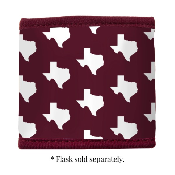 Maroon and white neoprene Texas A & M velcro flask coozy.