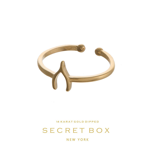 Secret Box 14 karat gold over brass, open, wishbone ring. Adjustable in size.