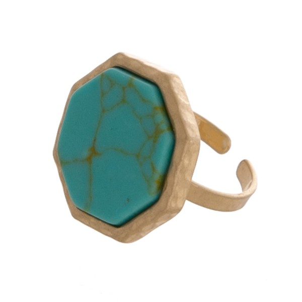 "Adjustable octagon natural stone ring.  - Adjustable band  - Fits up to a size 8 ring - Approximately .75"" in diameter"