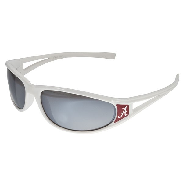 Officially licensed white sunglasses with Crimson Alabama logo.