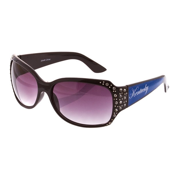 Black Frame Sunglasses With Officially Licensed Kentucky Logo With Jewels On The Edge.