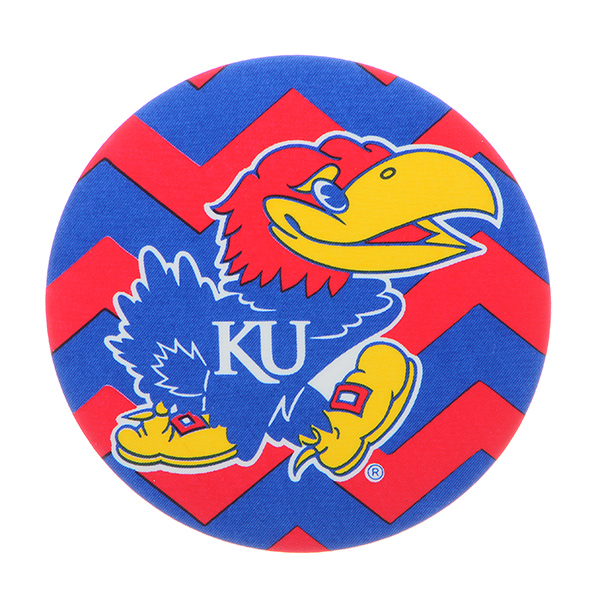 "Officially licensed 4"" fabric chevron button featuring the Kansas University logo."