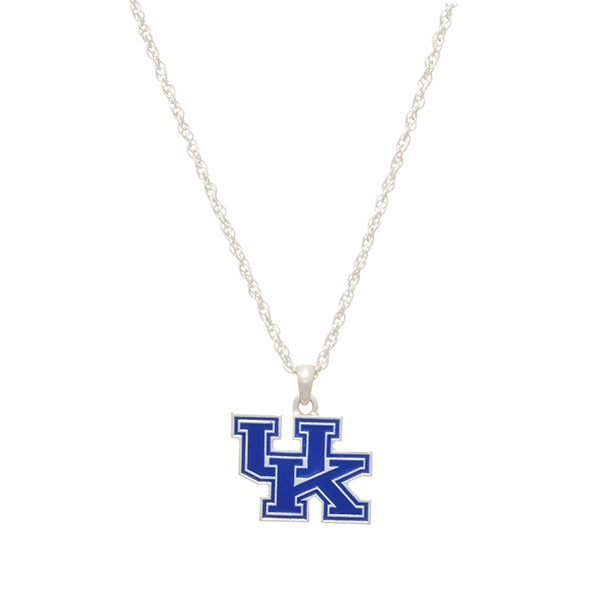 "Silver tone officially licensed collegiate necklace featuring a University of Kentucky charm. Approximately 17"" in length."