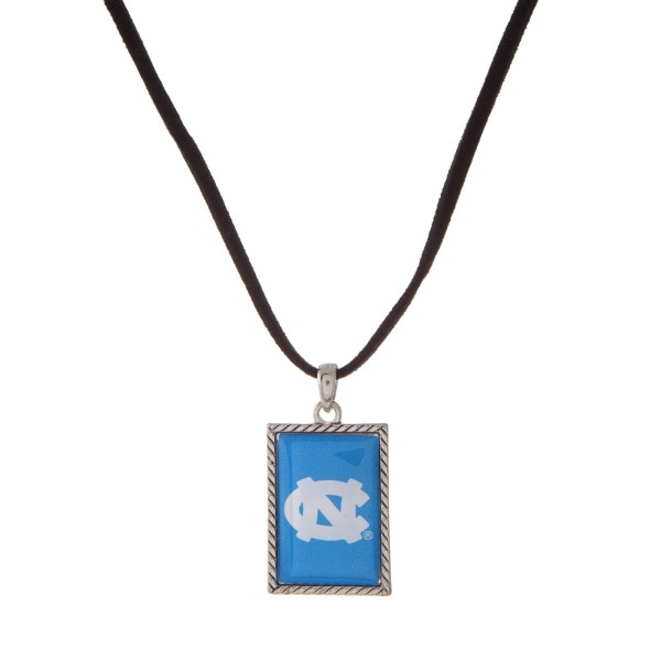 "Officially licensed University of North Carolina necklace with black cord and a square logo pendant. Approximately 16"" in length."