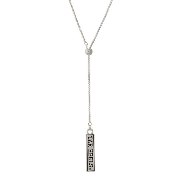 "Officially licensed, silver tone 'Y' necklace with a bar pendant stamped with ""Tar Heels."" Adjustable up to 28"" in length."