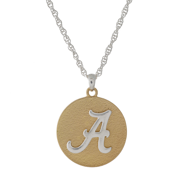 """Officially licensed, two tone necklace with the University of Alabama logo pendant. Approximately 18"""" in length."""