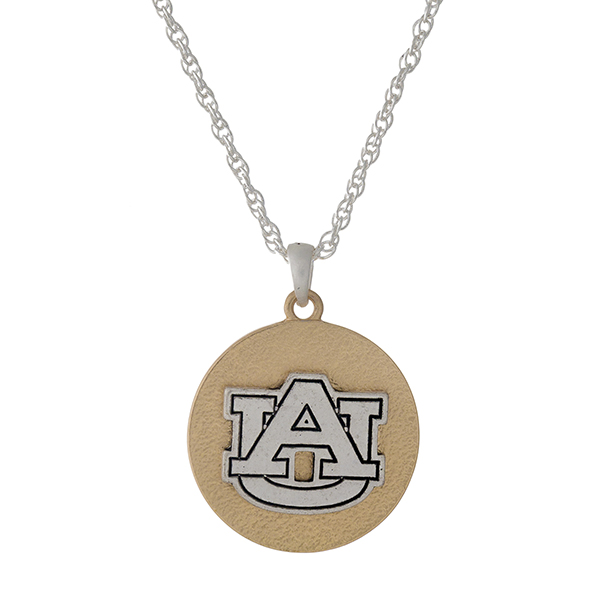 "Officially licensed, two tone necklace with the Auburn University logo pendant. Approximately 18"" in length."