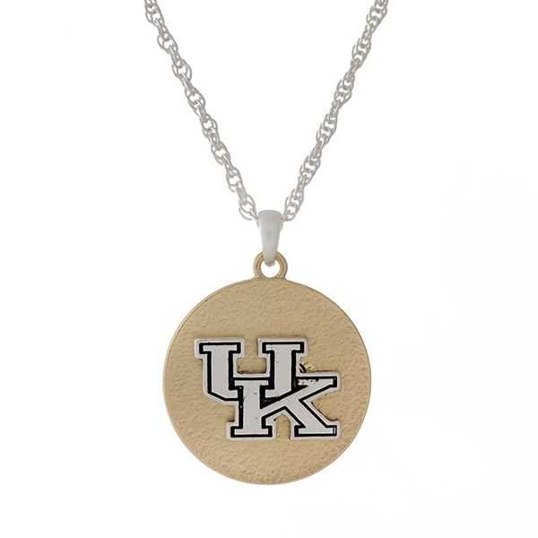 "Officially licensed, two tone necklace with the University of Kentucky logo pendant. Approximately 18"" in length."