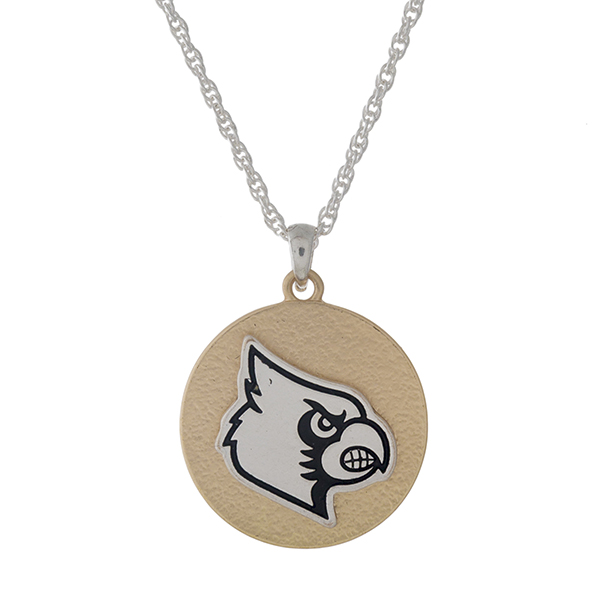 "Officially licensed, two tone necklace with the University of Louisville logo pendant. Approximately 18"" in length."
