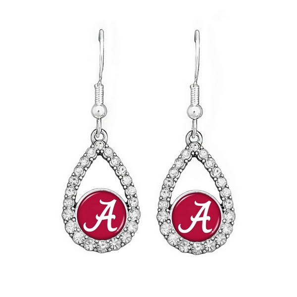 """Officially licensed 2"""" silver tone earrings featuring an oval shape Alabama logo with clear crystal rhinestones."""