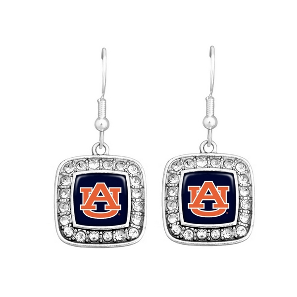 "Officially licensed Auburn University earrings 3/4"" square shape with logo trimmed in crystals on fish hooks."