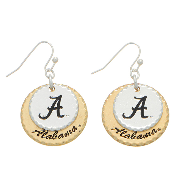 """Mixed metal officially licensed collegiate earrings featuring two disk stamped """"A"""" and """"Alabama"""". Charm approximately 1"""" in length. Overall length 1 9/16""""."""