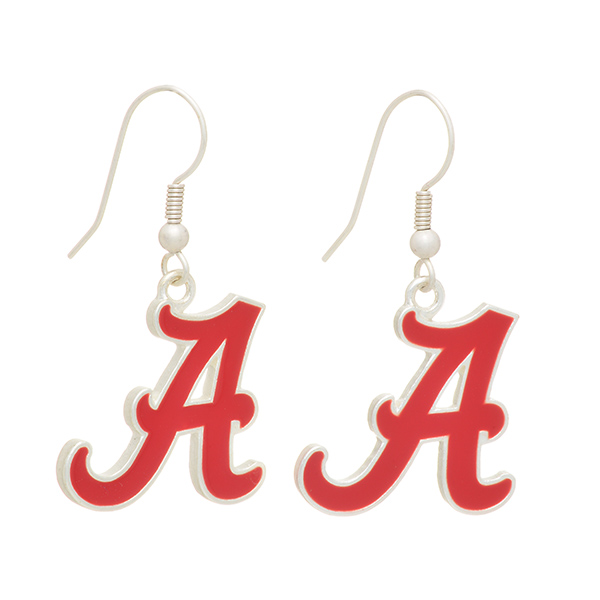 """Silver tone officially licensed fishhook earrings featuring The University of Alabama logo. Approximately 1"""" in length."""