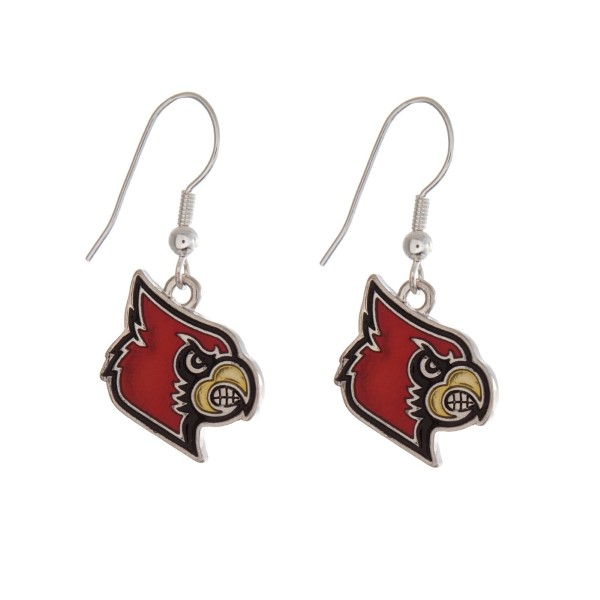 "Silver tone officially licensed University of Louisville earrings displaying the logo. Approximately 1"" in length."