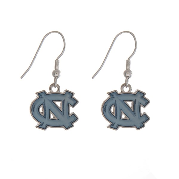 "Silver tone officially licensed University of North Carolina earrings displaying the logo. Approximately 1"" in length."