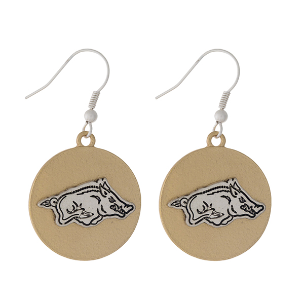 "Officially licensed, two tone fishhook earrings with the University of Arkansas logo. Approximately 1"" in diameter."