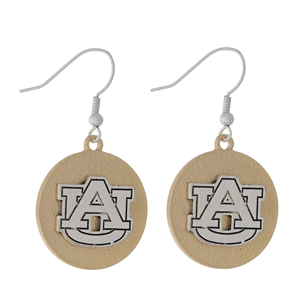 "Officially licensed, two tone fishhook earrings with the Auburn University logo. Approximately 1"" in diameter."