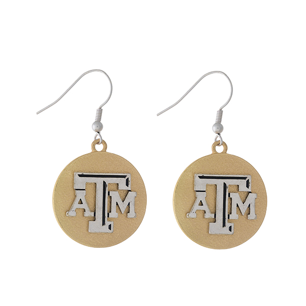 """Officially licensed, two tone fishhook earrings with the Texas A&M logo. Approximately 1"""" in diameter."""